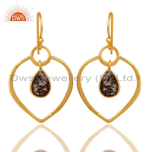 Black Rutile 18K Gold Plated Heart Shape Designed Sterling Silver Earring