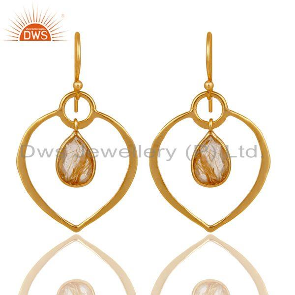 Golden Rutile 18K Gold Plated Heart Shape Designed Sterling Silver Earring