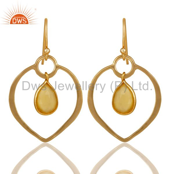 Yellow Chalcedony 18K Gold Plated Heart Shape Designed Sterling Silver Earring
