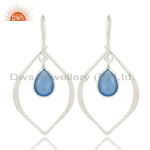 Dyed Blue Chalcedony Solid 925 Sterling Silver Bezel Set Drops Earrings