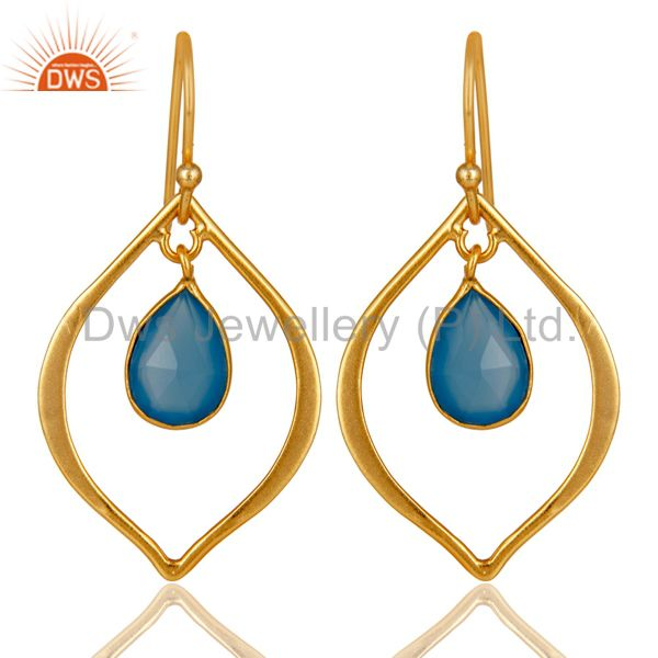 Blue Chalcedony 18K Gold Plated Art Deco Sterling Silver Earring