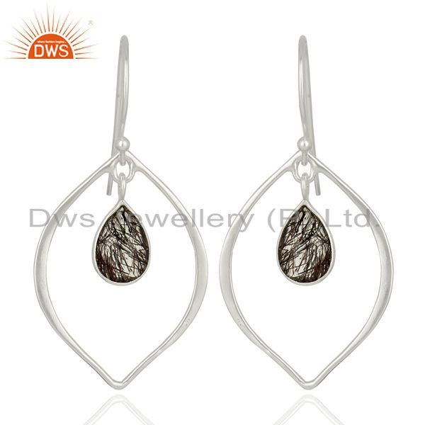 Black Rutile Gemstone 925 Sterling Fine Silver Womens Earrings Jewelry