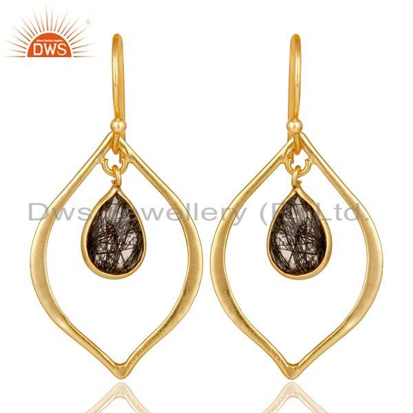 Black Rutile 18K Gold Plated Art Deco Sterling Silver Earring
