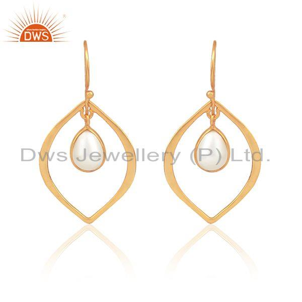 Handmade Minimal Yellow Gold on Silver Earring with Dangle Pearl