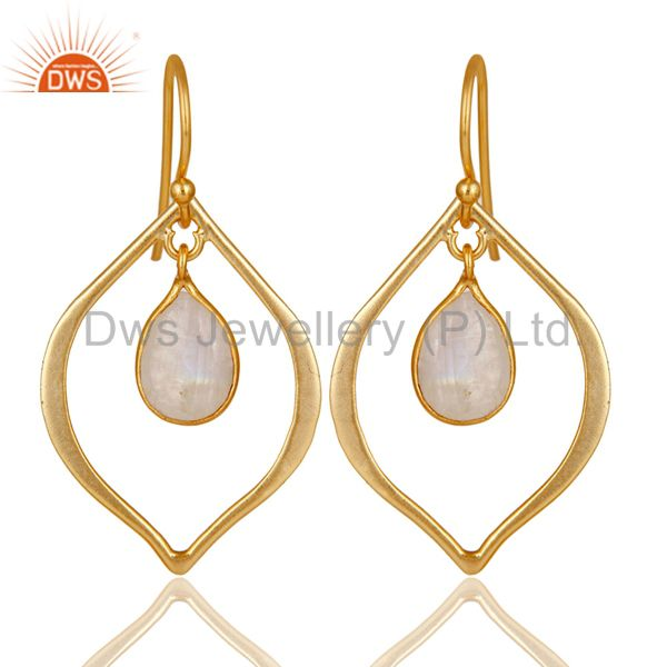 Rainbow Moonstone 18K Gold Plated Art Deco Sterling Silver Earring