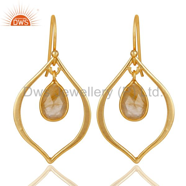 Golden Rutile 18K Gold Plated Art Deco Sterling Silver Earring