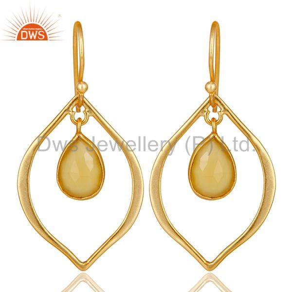 Yellow Chalcedony 18K Gold Plated Art Deco Sterling Silver Earring