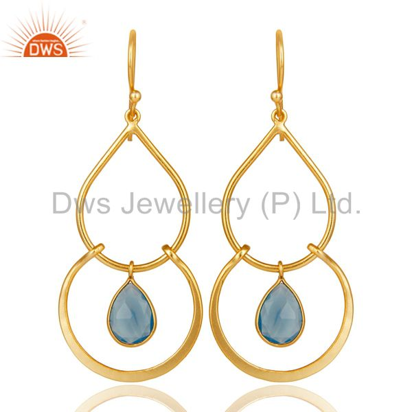 Art Deco Blue Chalcedony 18K Gold Plated Sterling Silver Earring