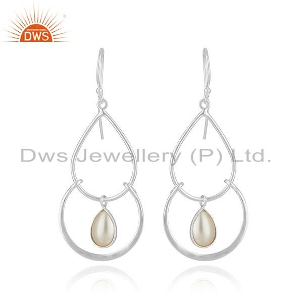 925 Sterling Fine Silver Natural Pearl Gemstone Designer Hook Earrings