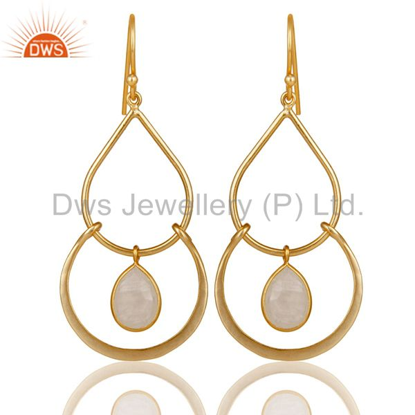 Art Deco Rainbow Moonstone 18K Gold Plated Sterling Silver Earring