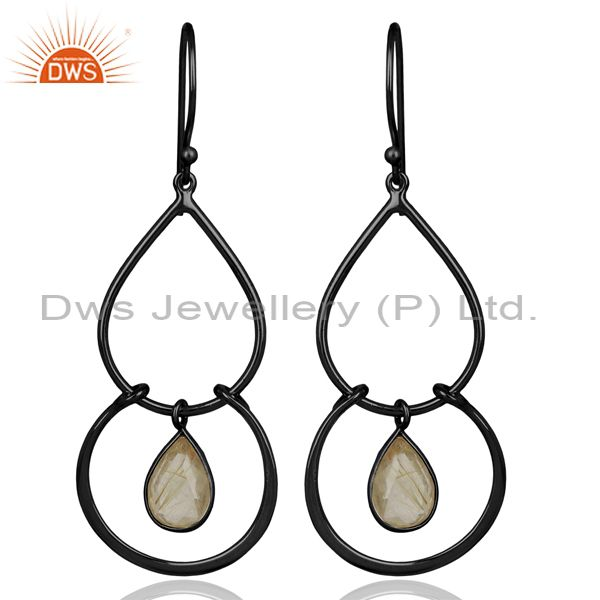 Handmade Design Golden Rutile Gemstone 925 Silver Womens Earrings