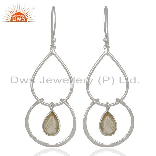 925 Sterling Fine Silver Handmade Goledn Rutile Gemstone Earrings