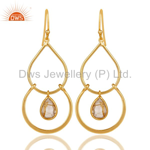 Art Deco Golden Rutile 14K Gold Plated Sterling Silver Dangle Earrings