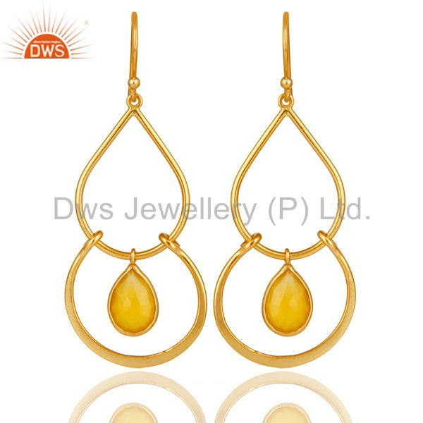 Art Deco Yellow Chalcedony 18K Gold Plated Sterling Silver Earring