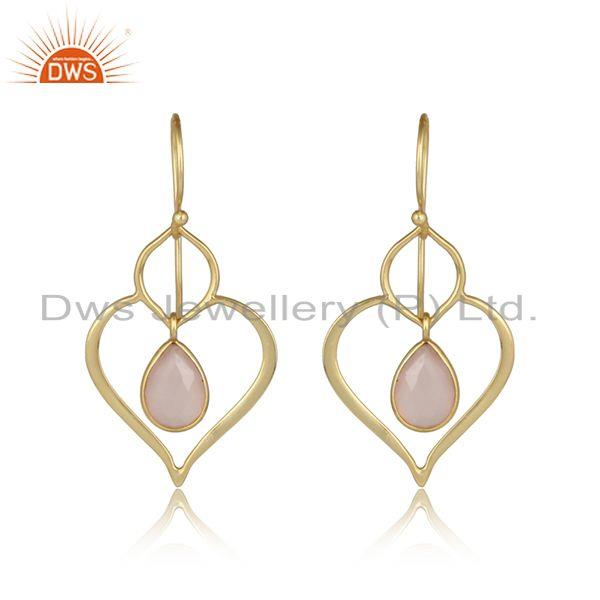 Designer Heart Rose Chalcedony Dangle in Yellow Gold on Silver