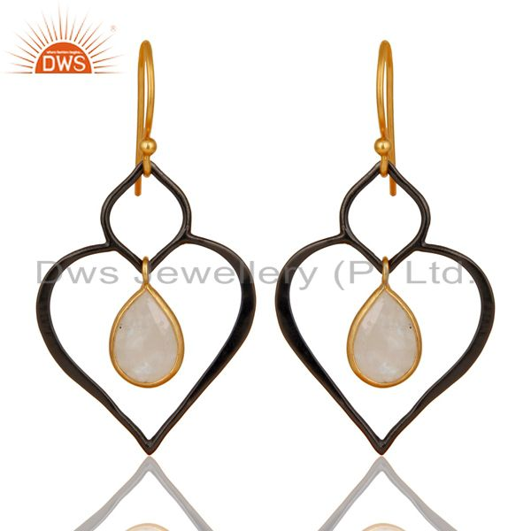 18K Gold Plated & Oxidized 925 Sterling Silver Rainbow Moonstone Dangle Earrings