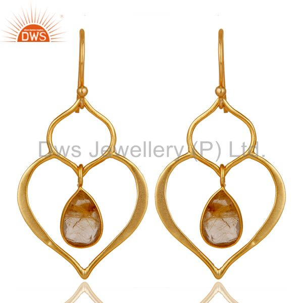 Art Deco Yellow Rutile 18K Gold Plated Sterling Silver Heart Shape Earring
