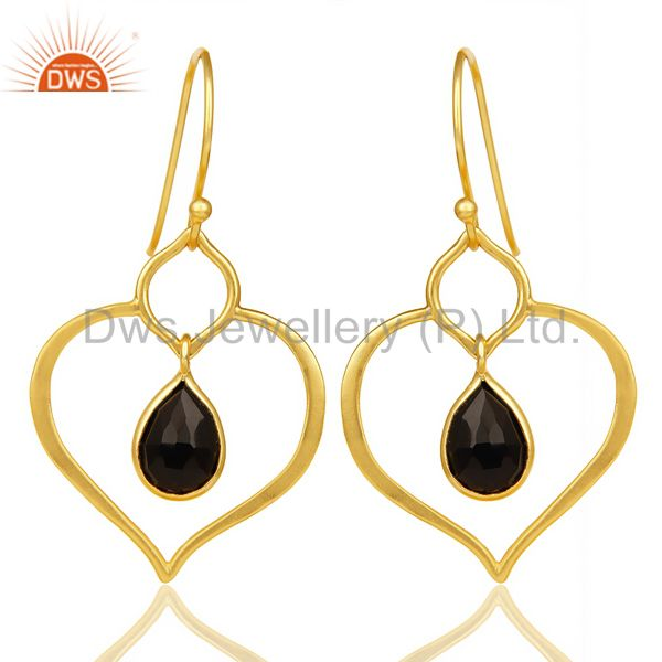 Black Onyx Dangle Heart Hoop 14K Gold Plated 92.5 sterling Silver Earring
