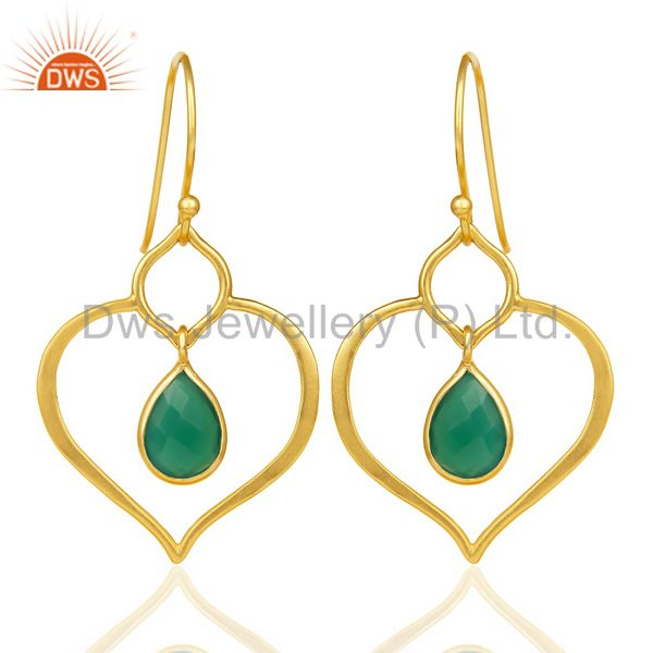 Green Onyx Dangle Heart Hoop 14K Gold Plated 92.5 sterling Silver Earring