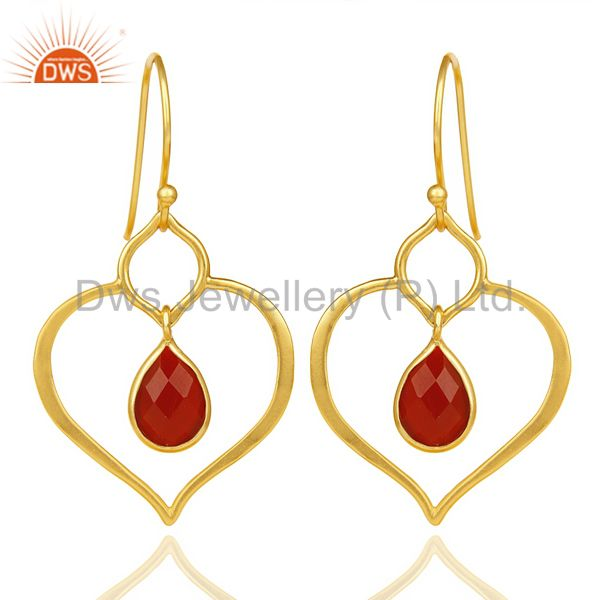 Red Onyx Dangle Heart Hoop 14K Gold Plated 92.5 sterling Silver Earring