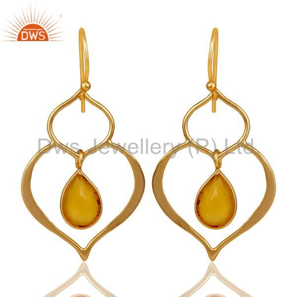Art Deco Yellow Chalcedony 18K Gold Plated Sterling Silver Heart Shape Earring
