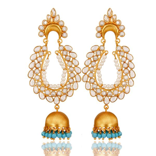 18K Gold Plated 925 Sterling Silver Pearl Zircon Bollywood Jhumka Earrings
