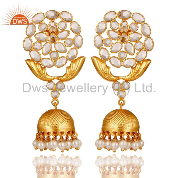 Zircon and Pearl 18K Gold Plated Sterling Silver Traditional Jhumka Earring