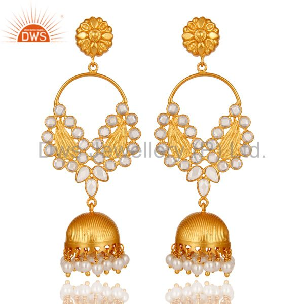 Pearl and CZ 18K Gold Plated Sterling Silver Jhumka Traditional Earring
