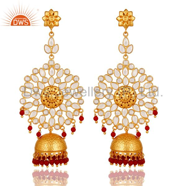 Zircon and Coral 18K Gold Plated Sterling Silver Traditional Jhumka Earring