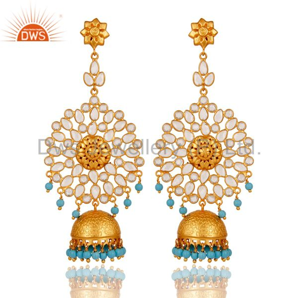 18K Gold Plated 925 Sterling Silver Turquoise Zircon Ethnic Jhumka Earrings