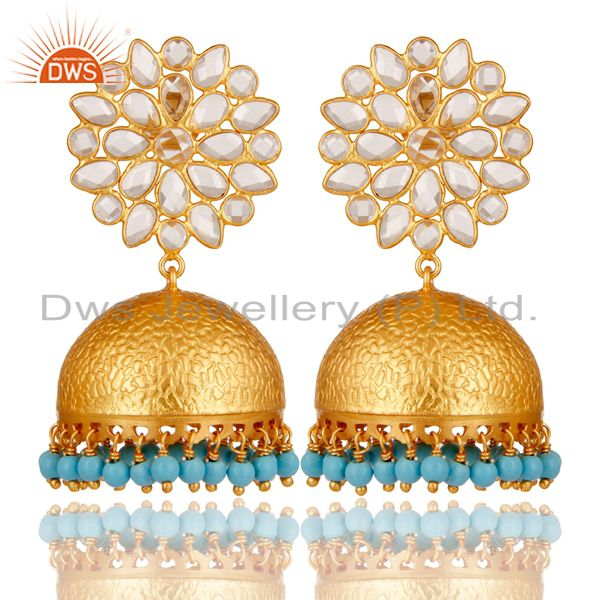 Turquoise and CZ 18K Gold Plated Sterling Silver Traditional Earring Jhumka