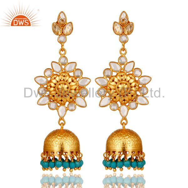 Turquoise and CZ Sterling Silver 18K Gold Plated Jhumka Earring
