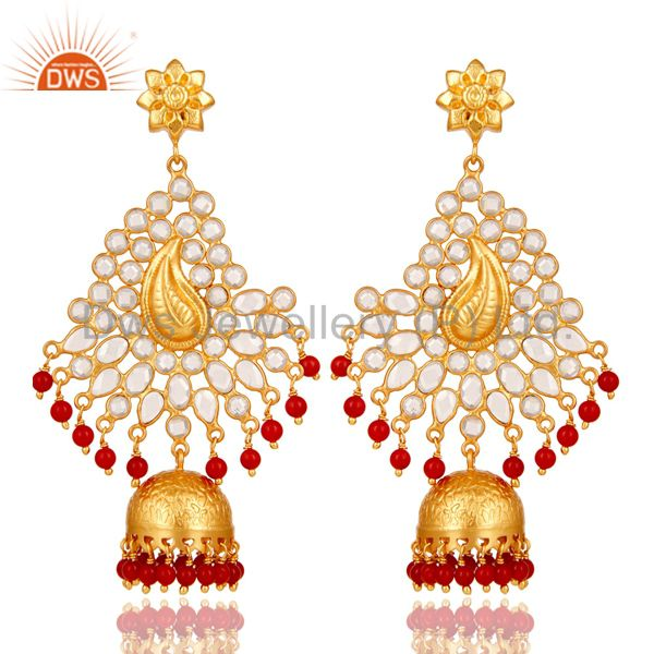 18K Gold Plated 925 Sterling Silver Red Coral Zircon Traditional Jhumka Earring