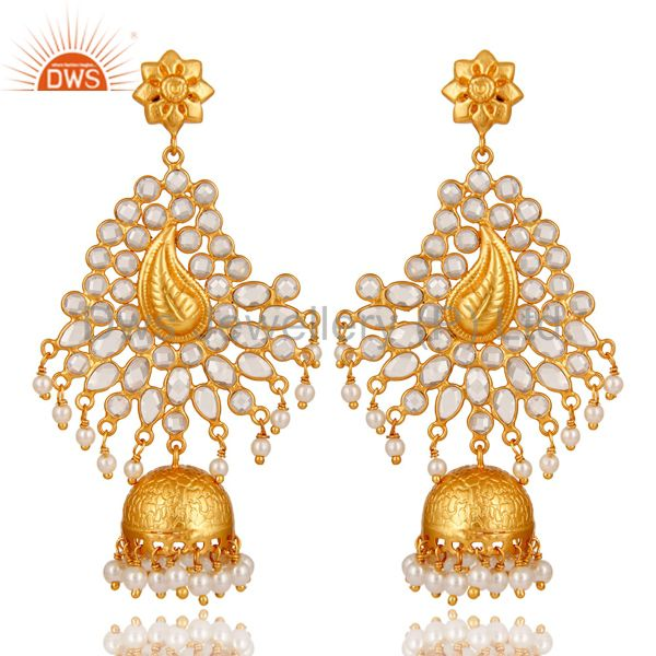 Pearl and CZ Sterling Silver 18K Gold Plated Earring Traditional Jhumka