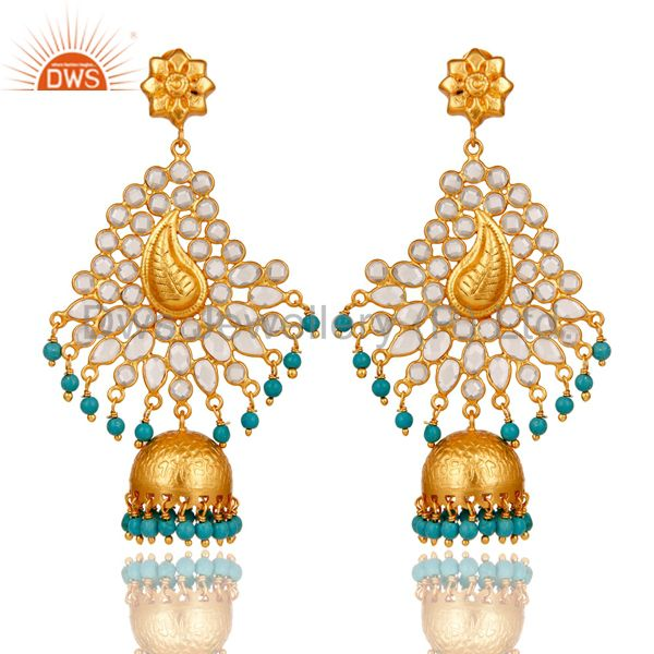 Turquoise and CZ Sterling Silver 18K Gold Plated Earring Traditional Jhumka