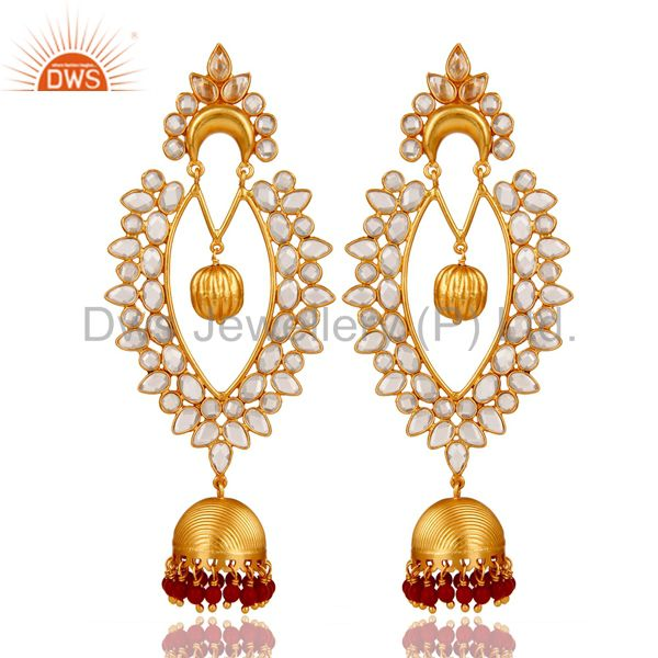 18K Gold Plated Sterling Silver Coral Cultured and CZ Jhumka Traditional Earring
