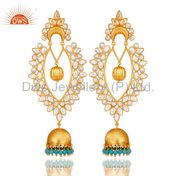 18K Gold Plated Sterling Silver Turquoise & White Zirconia Jhumka Earrings
