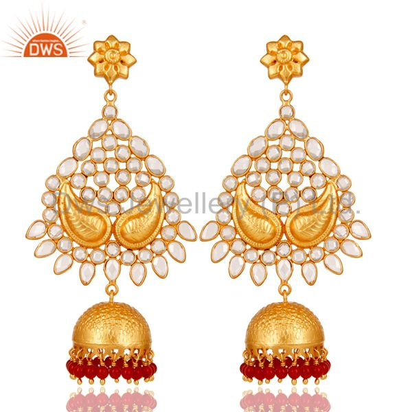 18K Gold Plated 925 Sterling Silver Coral CZ Jhumka Traditional Earring Jewelry
