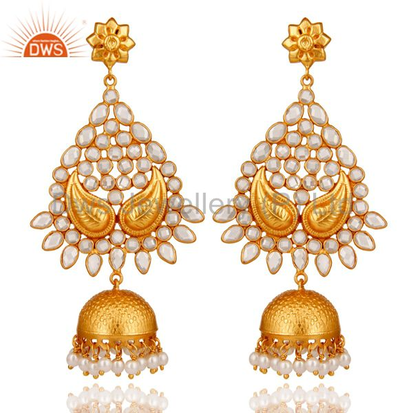 18K Gold Plated Sterling Silver and Pearl, CZ Jhumka Earring