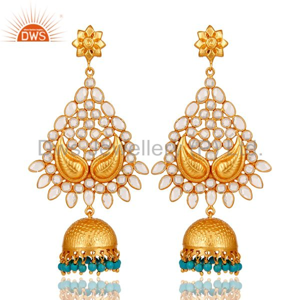18K Gold Plated Sterling Silver and Turquoise, CZ Jhumka Earring