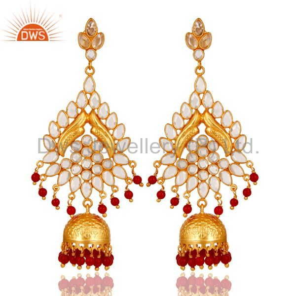 18K Gold Plated Coral and CZ Sterling Silver Traditional Earring