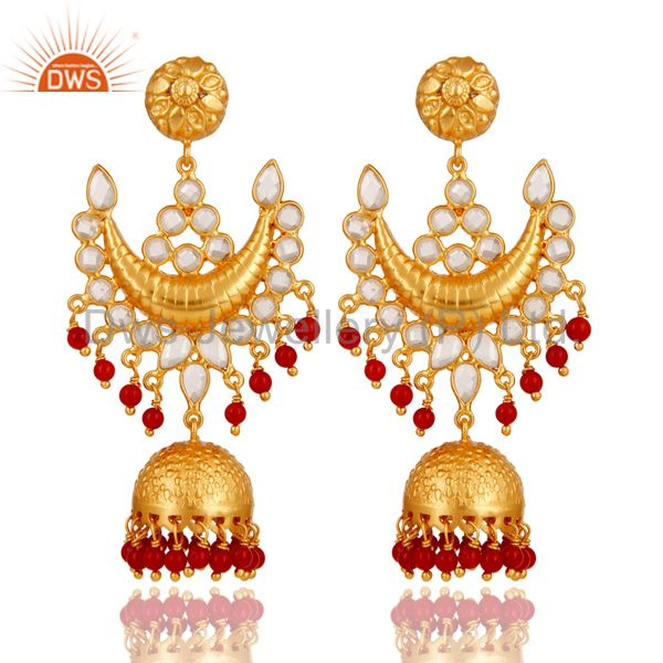 18K Gold Plated Coral and Zircon Sterling Silver Traditional Jhumka Earring