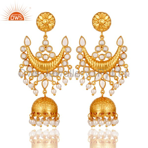 18K Gold Plated Pearl and Zircon Sterling Silver Traditional Jhumka Earring