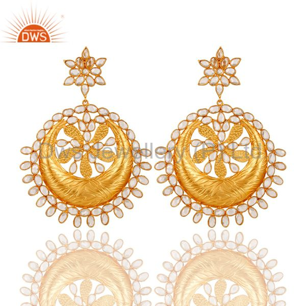 White CZ 18K Gold Plated Sterling Silver Dangler Traditional Earring