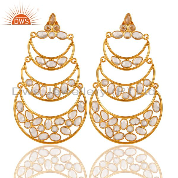 18K Gold Plated Sterling Silver White Zircon Dangler Earring Traditional Jewelry