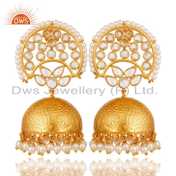 Pearl and White Zircon Jhumka Earring 18K Gold Plated 925 Silver Earrings