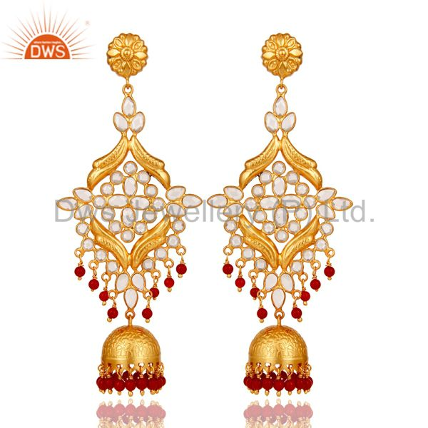 CZ and Coral Traditional Jhumka Earring 18K Gold Plated 925 Silver