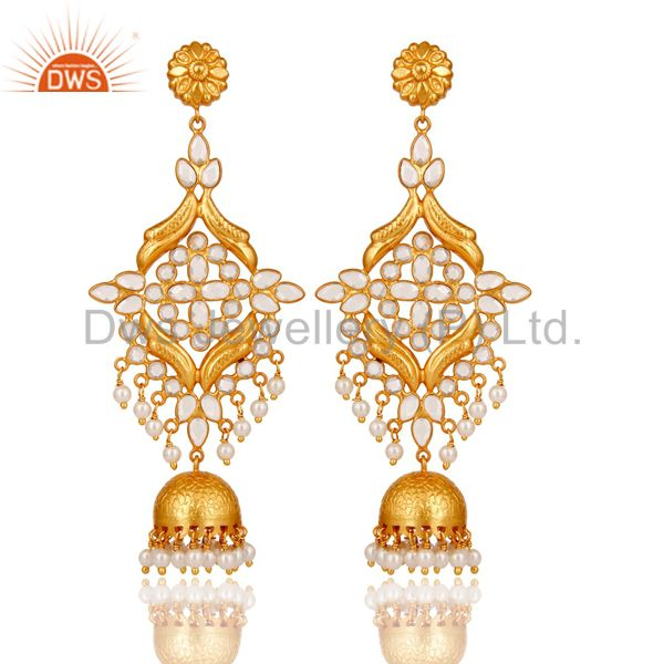 18K Gold Plated 925 Sterling Silver Pearl & White Zirconia Jhumka Earrings