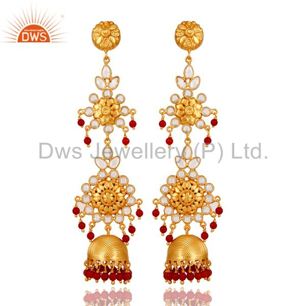 CZ and Coral Traditional Jhumka Earring 18K Gold Plated Sterling Silver