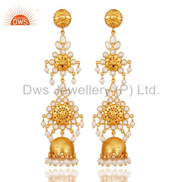 Pearl & White Zircon Traditional Jhumka Earrings 18K Gold Plated Sterling Silver
